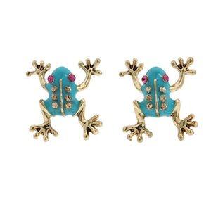 Betsey Johnson Blue Frogs Stud Earrings